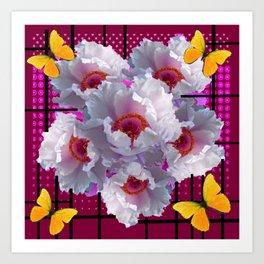 BUTTERFLIES  WHITE TREE PEONY FLOWERS  BURGUNDY ART Art Print
