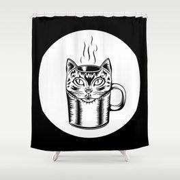 Coffee Cat Shower Curtain
