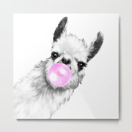 Bubble Gum Sneaky Llama Black and White Metal Print