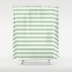 Green White Stripes Shower Curtain