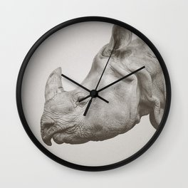 Rhino Photography | Warm Grey | Animals Wall Clock