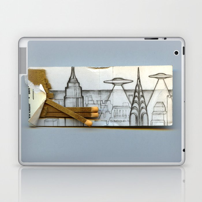 Flying over the city Laptop & iPad Skin