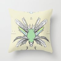 insect Throw Pillows featuring INSECT PROJECT by  ECOLARTE