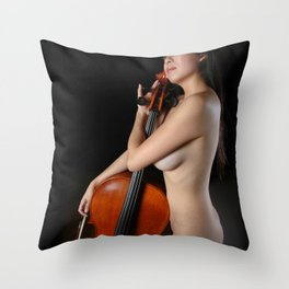 0205-JC Nude Cellist with Her Cello and Bow Naked Young Woman Musician Art Sexy Erotic Sweet Sensual Throw Pillow