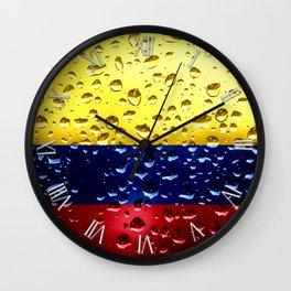 Flag of Columbia - Raindrops Wall Clock