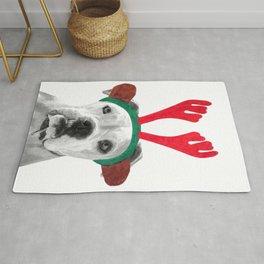 Black and White Boxer Christmas Rug