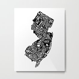 Typographic New Jersey Metal Print