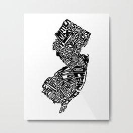 Typographic New Jersey Metal Print