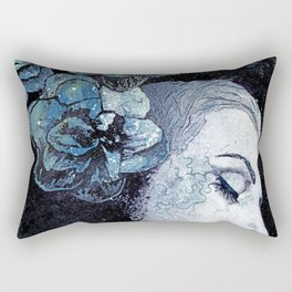 Obey Me: Blue (graffiti flower woman portrait) Rectangular Pillow