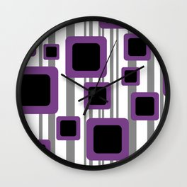 Geometry Rectangles violet Black - grey Stripes Wall Clock