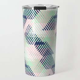 Geometric pattern in pastel mint, pink, blue colors Travel Mug