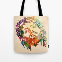 jesus Tote Bags featuring JESUS  by mark ashkenazi