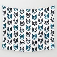 boston terrier Wall Tapestries featuring BOSTON TERRIER BLUE by Barbarian // Barbra Ignatiev