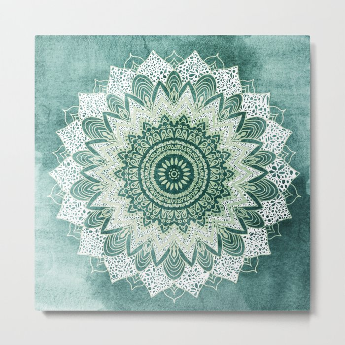 BOHOCHIC MANDALA IN MINT Metal Print