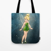 tinker bell Tote Bags featuring Tinker Bell by Anais.Lalovi