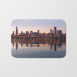 Panorama of the City skyline of Chicago Bath Mat