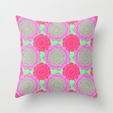Mint, Magenta & Radiant Orchid Mandala Pattern  Throw Pillow