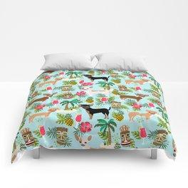 Chihuahua Tiki design - Summer tropical dog design Comforters