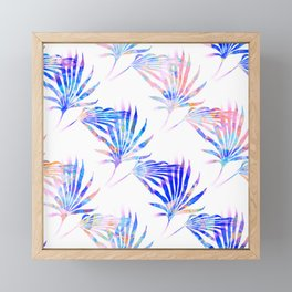 Palmetto Fronds Tropical Pattern Pink Blue Framed Mini Art Print
