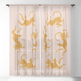 Leopard Race - pink Sheer Curtain