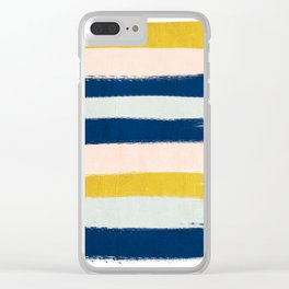 Esther - navy mint gold painted stripes brushstrokes minimal modern canvas art painting Clear iPhone Case