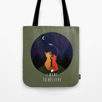 i want to believe Tote Bags featuring I Want To Believe by Sutexii
