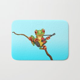 Tree Frog Playing Acoustic Guitar with Flag of Belgium Bath Mat