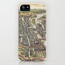 Vintage Map of Paris France (1655) iPhone Case