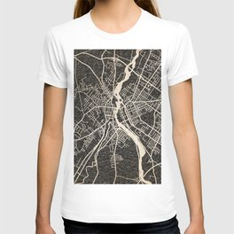 LEWISTON map Maine Ink lines T-shirt