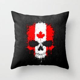 Flag of Canada on a Chaotic Splatter Skull Throw Pillow