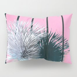 Yucca Plant in Front of Striped Pink Wall Pillow Sham