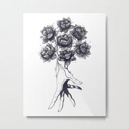 Hand with lotuses Metal Print