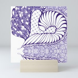 Blue Wash Art Deco Doodle Design Mini Art Print