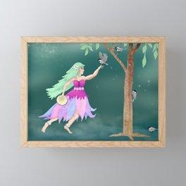Dancing with Chickadees Framed Mini Art Print