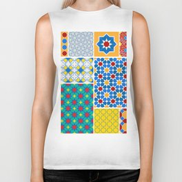 Moroccan pattern, Morocco. Patchwork mosaic with traditional folk geometric ornament. Tribal orienta Biker Tank