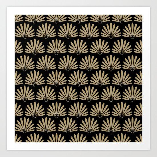 Tan & Black Daisies Art Print