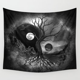 Yin Yang Tree Landscape Black and White Wall Tapestry