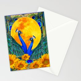 BLUE PEACOCKS MOON & FLOWERS FANTASY ART Stationery Cards