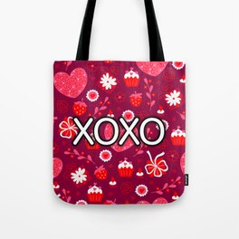 Valentine XOXO Red Hearts and Bows Tote Bag