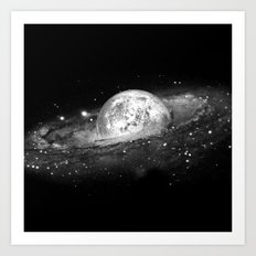 Moon and Galaxy Art Print