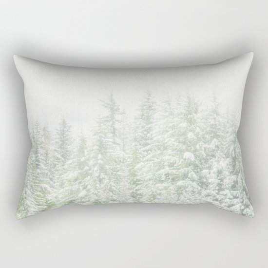 White Winter Forest with a Hint of Mint Rectangular Pillow
