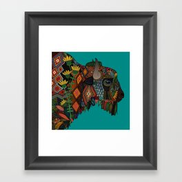bison teal Framed Art Print