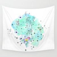 freedom Wall Tapestries featuring freedom  by Irmak Berktas