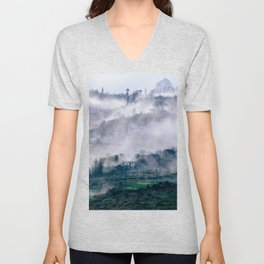 Foggy Mountain of Sa Pa in VIETNAM Unisex V-Neck