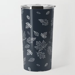 Pastel navy blue white hand painted autumn leaves Travel Mug