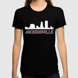 Red White Blue Jacksonville Florida Skyline T-shirt
