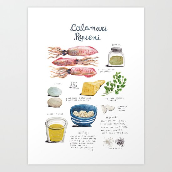 illustrated recipes: calamari ripieni Art Print