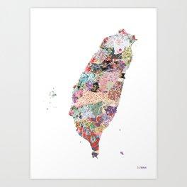 Taiwan map portrait Art Print