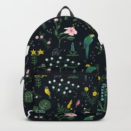 """Tropical Birds and Flowers"" on Midnight Blue by Bex Morley Backpack"