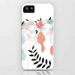 girls with flowers and leaves iPhone Case